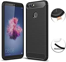 Funda Huawei P Smart, Bullspring Funda Estuche a prueba de golpes de silicona suave con cubierta de protección de diseño antideslizante TPU para Huawei P Smart/Enjoy 7S (Negro)