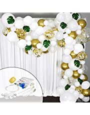Balloon Garland Arch Kit in White and Gold WITH Tropical Palm Leaves Greenery for Baby Shower Decorations boy or girl, Wedding Balloons, Bachelorette, Engagement or Birthday Party and Anniversary