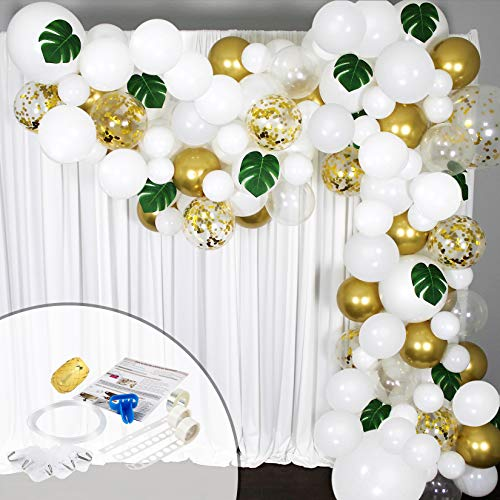 Balloon Garland Arch Kit 16 Ft Long- 168 Pieces White, Gold and Confetti - Tropical Palm Leaves Greenery for Baby Shower Decorations, Wedding, Bachelorette, Engagement, Birthday Party and Anniversary
