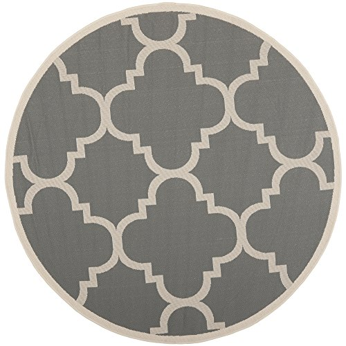 5r Classic Round Rug - Safavieh Courtyard Collection CY6243-246 Grey and Beige Indoor/Outdoor Round Area Rug (5'3