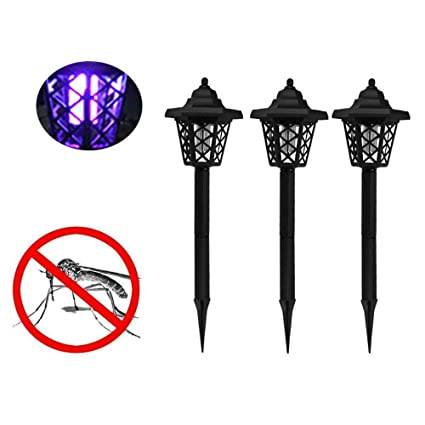 Commercial Fly Killer Solar Powered LED Light Mosquito Pest Zapper Insect Killer Lamp Garden Lawn WT Home Insect Zappers