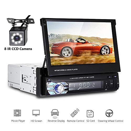 Car Stereo Single din Car Radio 7″ HD Player MP5 Touch Screen Digital Display Bluetooth Multimedia USB 1din Autoradio GPS Navigation Radio Player with 8 IR Car Backup Camera + Wireless Remote Control