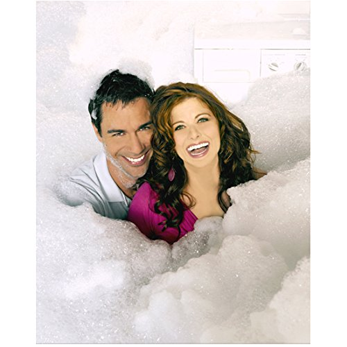 (Will & Grace (TV Series 1998 - 2006) (8 inch by 10 inch) PHOTOGRAPH Debra Messing & Eric McCormack from Shoulders Up in Bubbles kn)
