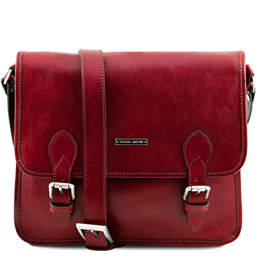Tuscany Leather TL Postman Leather messenger bag Red by Tuscany Leather