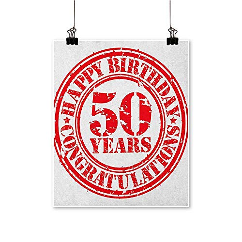 HouseDecor 50th Birthday,Wall Hanging Grungy Display with Aged Rubber Stamp for Fifty Years Old Congratulation W16 xL20 Wall Pictures for Boys Living Room