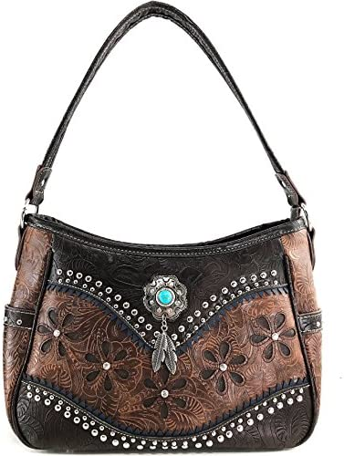 Justin Western Womens Purse Shoulder Bag Conceal Carry Lace Fringe Brown 2047511