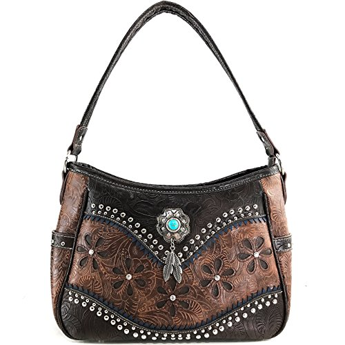 Justin Handbag Tooled West Concealed Turquoise Concho Feathers Studs Purse Purse Brown Carry Stone Only Western YnrY1wRvq
