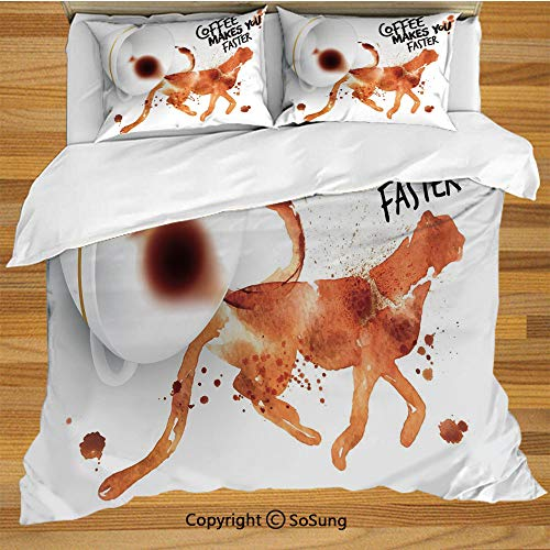Coffee Art Queen Size Bedding Duvet Cover Set,Coffee Makes You Faster Phrase with Espresso Splash Watercolor Art Decorative Decorative 3 Piece Bedding Set with 2 Pillow Shams,Burnt Sienna Black White
