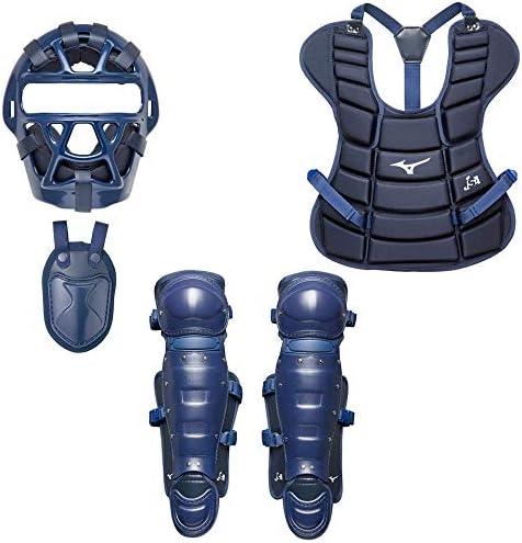 MIZUNO(ミズノ) ジュニア ソフトボール キャッチャー防具4点セット (1DJQS140/2ZQ129/1DJPS510/1DJLS510) ネイビー(14) F