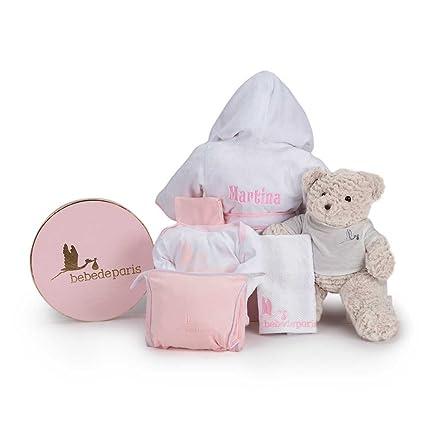 Canastilla bebé Mi Albornoz Bordado- Cesta para bebés con Albornoz personalizado con el nombre del