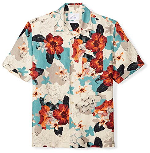 28 Palms Men's Relaxed-Fit Silk/Linen Tropical Hawaiian Shirt, Natural/Blue/Pink Floral, - Shirt Mens Plain Linen