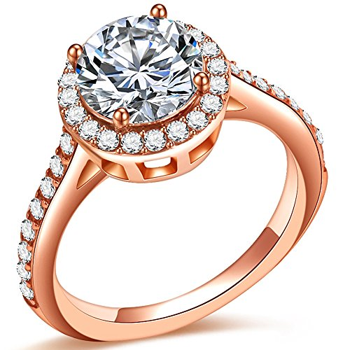 Jude Jewelers 3.75CT Stainless Steel Solitaire Engagement Ring Propose Wedding Anniversary Statement (Rose Gold, 5) (Gold Settings Ring Engagement Rose)