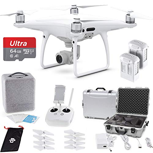 DJI Phantom 4 PRO Quadcopter with 4K Camera (Transmitter Included) - Ultimate Bundle with DJI Aluminum Case + 64GB Card + DJI Intelligent Flight Battery + RoundTheClock Drone Cleaning Cloth