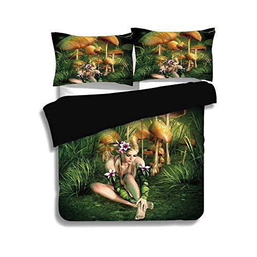 KUDOUXIA Black Duvet Cover Set Queen/Full Size,Mushroom,Fairy Woman in Enchanted Forest Elf Pixie Fungus Growth Flowers Grass,Green Light Brown Pink,3 Pcs Bedding Set 2 Pillow - Duvet Enchanted Set Cover