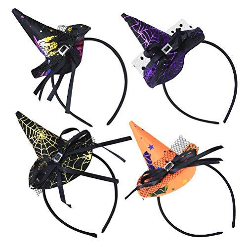 Beaupretty 4Pcs Witch Hat Headband Bow Lace