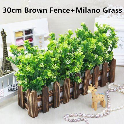 Wood Shelf Artificial & Dried Flowers - Artificial Green Plant Milano Grass Wooden Fence Set Fake Window Decorative Floral Corner Masking Living Room Hotel 1 - Glass Milano Vase
