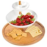 3-Tier Round Bamboo & Ceramic Desserts, Appetizers Display Serving Tray Stand Tower