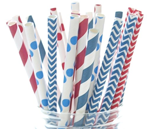 4th of July Straws – Independence Day Flag USA Red, White & Blue Paper Party Straws (25 Pack) – America Patriotic BBQ Supplies