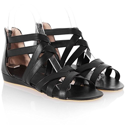 Women Coolcept Shoes Strap Gladiator Flat Summer Classic Flats Black Sandals Zip Cross HqF6A