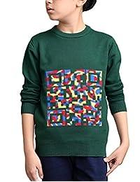 MFrannie Boys Colorful Block Funny QR Code Jacquard Warm Sweater
