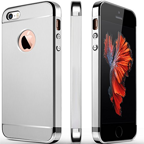 iPhone 5S Case, iPhone 5 Case, iPhone SE Case, COOLQO 3in1 Ultra-thin Hard Matte Finish Plastic [Tempered Glass Screen Protector] Shockproof Electroplate Cover Skin for Apple iPhone 5SE (Silver)