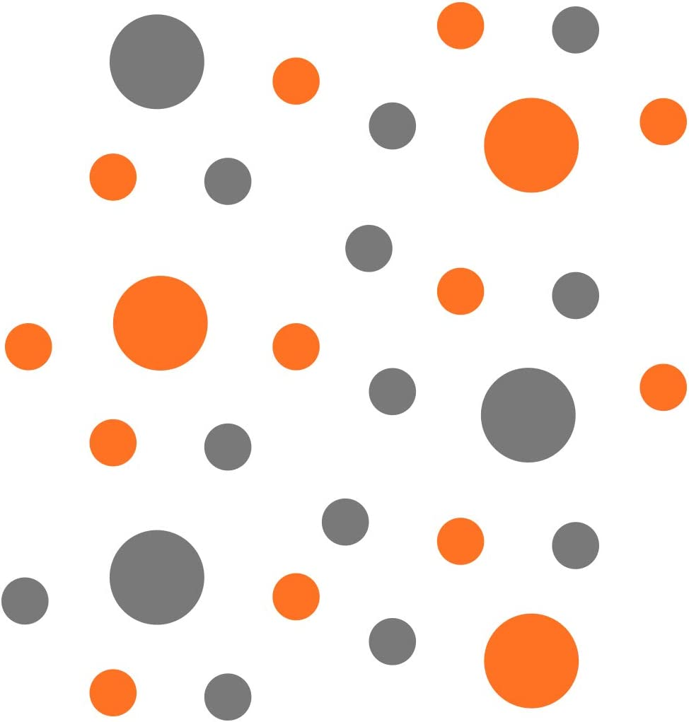 Orange/Grey Vinyl Wall Stickers - 2 & 4 inch Circles (30 Decals)