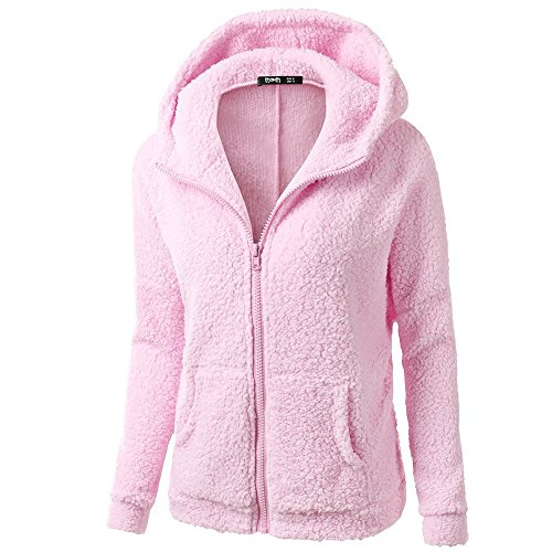 Sunmoot Teddy Bear Coat Hoodie Sweater Jacket Plus Size Women's Winter Sherpa Faux Fur Coat Pink