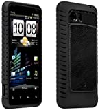 HTC Vivid AGF Ballistic Magnate Case - Black - Leather Inlay Gel Case