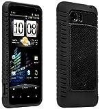 HTC Vivid AGF Ballistic Magnate Case - Black - Leather Inlay Gel Case