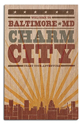 - Lantern Press Baltimore, Maryland - Skyline and Sunburst Screenprint Style (12x18 Wood Wall Sign, Wall Decor Ready to Hang)