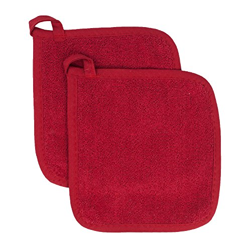 Ritz Royale Collection 100% Cotton Terry Cloth Pot Holder Set, Kitchen Hot Pad, 2-Pack, Paprika ()