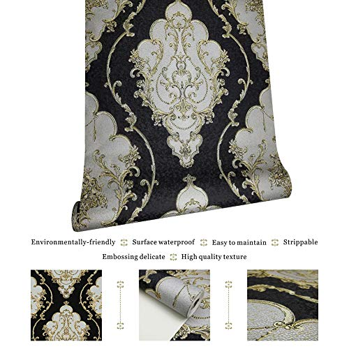 JZ27 Luxury Damask Wallpaper Rolls, Black/Gold/Silver Embossed Texture Victorian Wall Paper Home Bedroom Living Room Hotels Wall Decoration 20.8''x 31ft by JZHOME (Image #4)