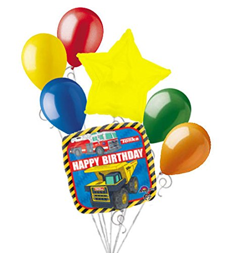 Tonka Truck Birthday (7 pc Construction Balloon Bouquet Decoration Happy Birthday Tonka Dump)