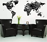 World Map with Countries Black wall saying vinyl lettering home decor decal stickers quotes