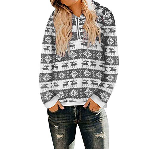 vermers Black Friday Deals! Womens Warm Fluffy Winter Coat Hoodie Tops Christmas Hooded Sweatshirt Pullover Jumper(3XL, z-zzGray)