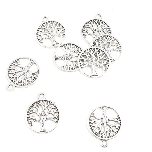 - 90 Pieces Antique Silver Tone Jewelry Making Charms Supply ZY2018 Life String Tree Oak