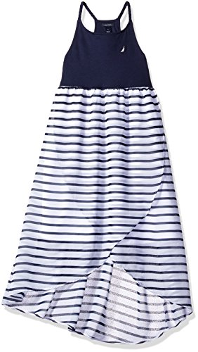 Nautica Girls' Toddler Stripe Chiffon Dress,with Asymmetrical Hem, Sail White 2T