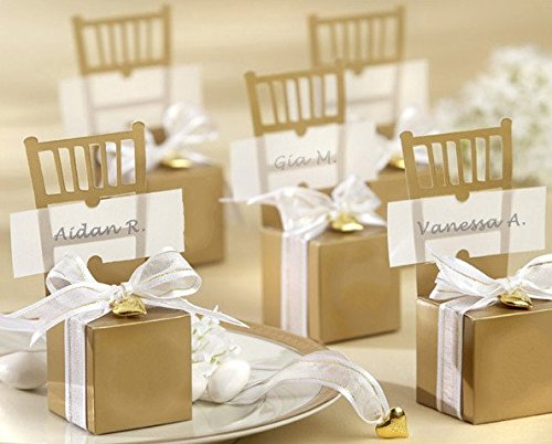 B&S FEEL Miniature Gold Chair Favor Box with Heart Charm and Ribbon, Set of 50