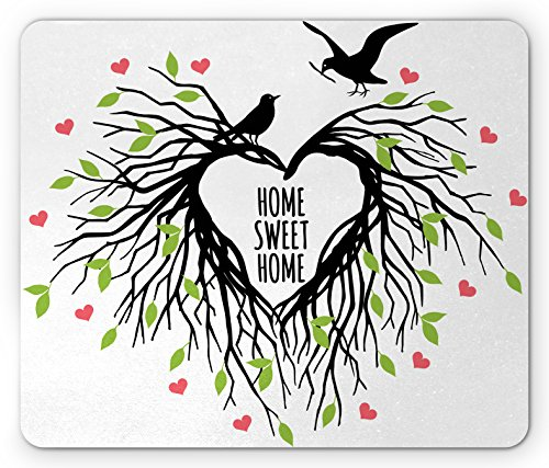 Ambesonne Tree of Life Mouse Pad, Heart Shaped Bird Nest Sweet Home Quote Hope Family Partners in Nature, Standard Size Rectangle Non-Slip Rubber Mousepad, Black Green Pink