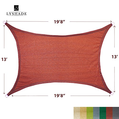 LyShade 19 8 x 13 Rectangle Sun Shade Sail Canopy Terracotta – UV Block for Patio and Outdoor