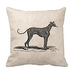 pillow perfect Decorative Cotton 18 X 18 Twin Sides Vintage 1800S Greyhound Dog Illustration - Dogs Throw Pillowcases