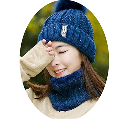 B Letters Knitted Hat Women Brand Winter Women Ball Ski Rabbit Fur Hat Pompoms Hats Knitted