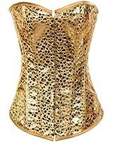 Muka Strapless Gold Fashion Beaded Overbust Corset, Valentine's Gift Idea