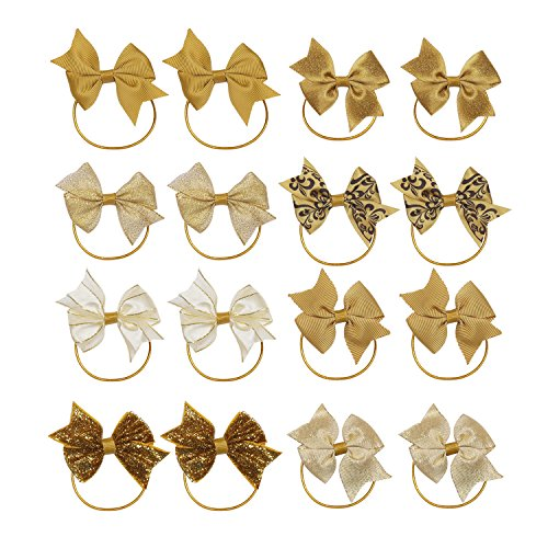KOONY Baby Girls Hair Bow Elastic Ties Ponytail Holders Hair Bands 16pc Gold