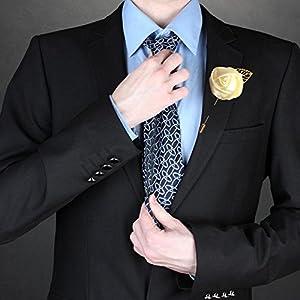 WeddingBobDIY 12Pieces/lot Groom Boutonniere Wedding Silk Rose(3.5cm) Flowers Accessories Prom Pin Man Suit Decoration Ivory 3