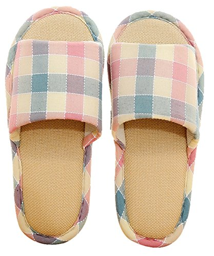 Blubi Mujeres Summer Checkered Flax House Slippers Antideslizante Ladies Slippers Open Toe Slippers Pink