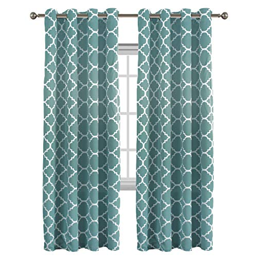 Flamingo P Light Blocking Moroccan Insulated Blackout Drapes Printed Window Curtains for Living Room, Grommet Top, Teal Set of Two Panels, Each 84 by 52