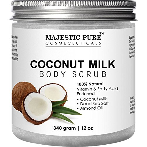 Majestic Pure Coconut Milk Body Scrub, Anti Cellulite & Exfoliator, Natural Skin Care Formula Helps with Stretch Marks, Eczema, Acne and Varicose Veins, 12 ()