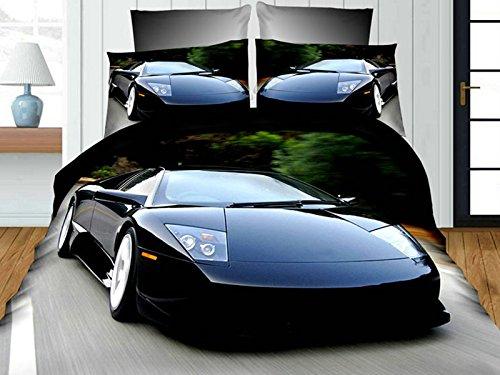 Black Sport Car 3D Premium Bedding Set Single Size 4 pcs + pillowcases 50x75 cm + flat sheet Febe