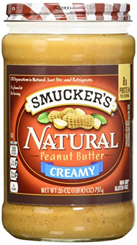 Smucker's Natural Creamy Peanut Butter, 26-Ounce Glass Jars (Pack of 3) ()